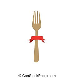 colorful cutlery fork kitchen element with ribbon