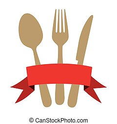 colorful cutlery kitchen elements with red ribbon