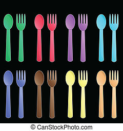colorful cutlery pattern background vector