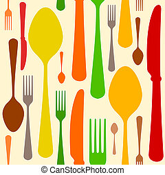 Colorful Cutlery Pattern - Fork knife and spoon as seamless...