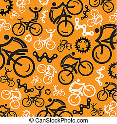 Colorful cycling background with cycling icons. Vector illustrations.