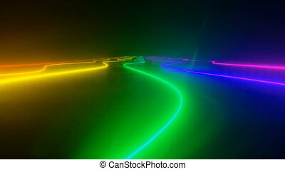 Colorful dance floor with several shining 4k