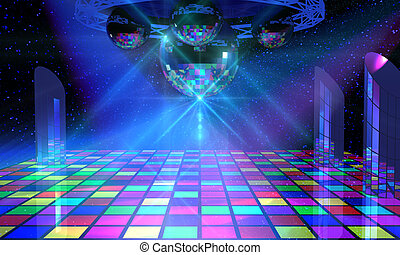 Colorful dance floor with several shining mirror balls, ...