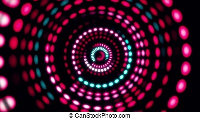 Colorful dance floor with several shining. Sound waves, Dance of lines and light. Rainbow spectrum of colors. Disco dancing and electronic music background. Circle audio equalizer background with flare light