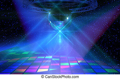 Colorful dance floor with shining mirror ball