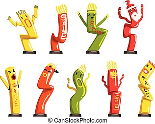 Colorful dancing inflatable tube men set with waving hands vector Illustrations on a white background