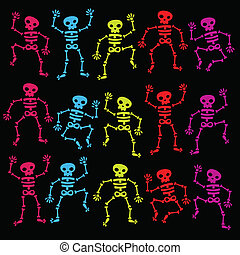 Colorful Dancing Skeletons - Vector set of colorful dancing...