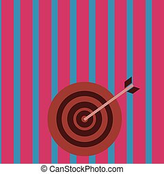 Colorful Dart Board in Circle Concentric Style with Arrow Hitting Center Bulls Eye. Creative Background Idea for Competition, Business Target Goal Planning and Marketing Concept.