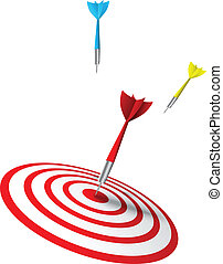 colorful darts hitting a target - Vector Illustration of...