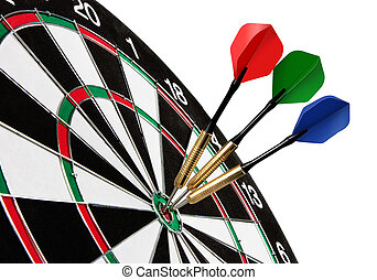 Colorful darts hitting a target