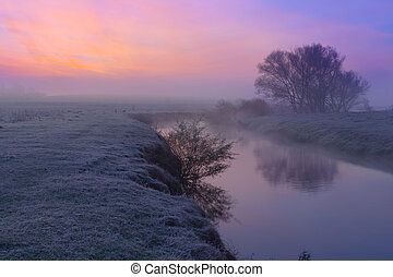 Colorful dawn on the river