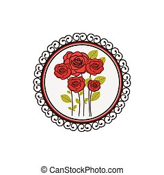 colorful decorative circular frame with bouquet of roses