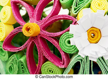 Colorful decorative flowers made ??of paper