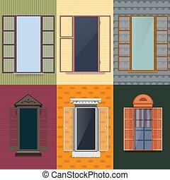 Colorful Decorative Opened Windows Set
