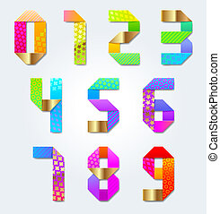 Colorful decorative paper numbers