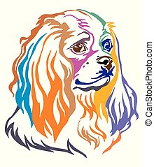 Colorful decorative portrait of Dog Cavalier King Charles...