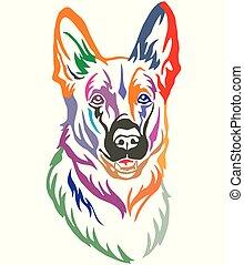 Colorful decorative portrait of Dog Shepherd vector illustration