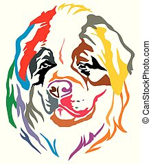 Colorful decorative portrait of Dog St. Bernard vector...