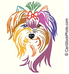 Colorful decorative portrait of Dog Yorkshire Terrier vector illustration