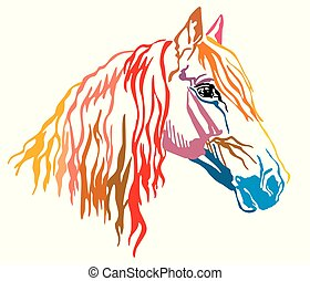 Colorful decorative portrait of Orlov Trotter horse vector illustration