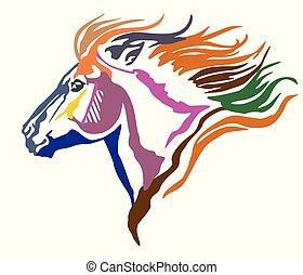 Colorful decorative portrait of pony vector illustration