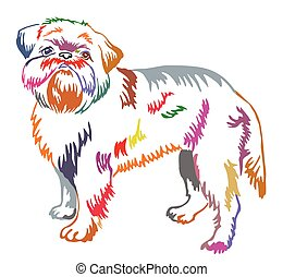 Colorful decorative standing portrait of Brussels Griffon vector illustration
