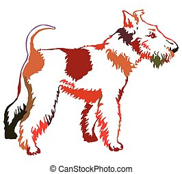 Colorful decorative standing portrait of dog Fox Terrier, vector illustration
