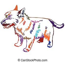 Colorful decorative standing portrait of dog Norwich terrier vector illustration