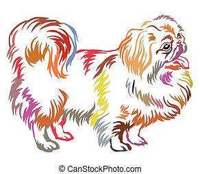 Colorful decorative standing portrait of dog Pekingese vector illustration