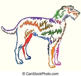 Colorful decorative standing portrait of Irish Wolfhound vector illustration