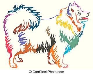 Colorful decorative standing portrait of Japanese Spitz vector illustration