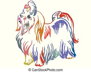 Colorful decorative standing portrait of Maltese dog vector illustration