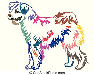 Colorful decorative standing portrait of Pumi dog vector illustration