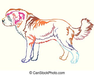 Colorful decorative standing portrait of St. Bernard Dog...