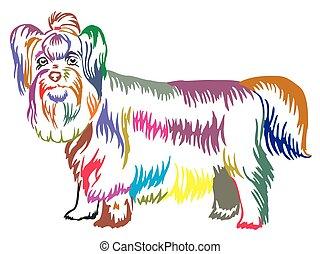 Colorful decorative standing portrait of Yorkshire Terrier vector illustration