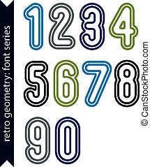 Colorful delicate retro numbers set