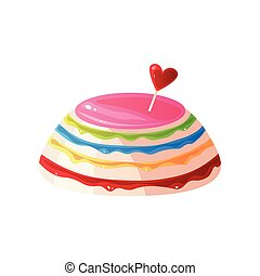 Colorful Delicious Cake, Sweet Tasty Dessert Vector Illustration