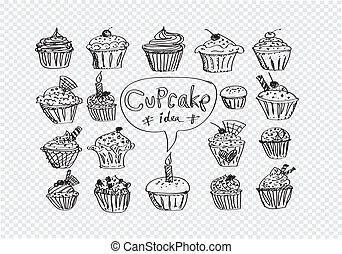colorful delicious cupcakes vector