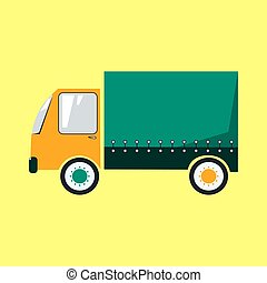 Colorful delivery truck cartoon style vector illustration