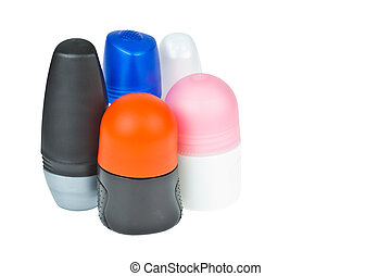 Colorful deodorant on white background