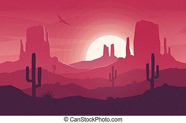 Colorful desert landscape at hot sunset. Vector illustration.