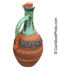 Colorful designed clay vase isolated over white