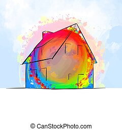 colorful detached house drawing concept