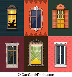 Colorful Detailed Night Windows Collection