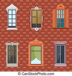 Colorful Detailed Windows Flat Set