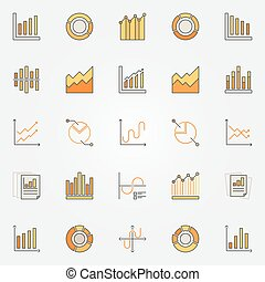 Colorful diagram and graph icons