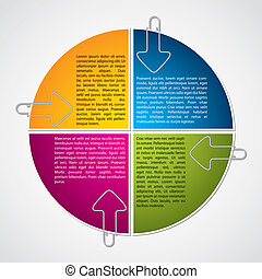 Colorful diagram design with arrow paper clips - Colorful...