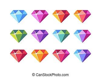 Colorful diamond collection. Shiny gemstone flat icons.