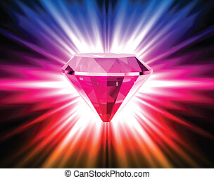 Colorful diamond on bright background. Vector