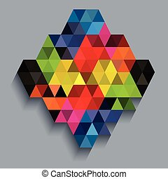 Colorful diamond with triangle texture